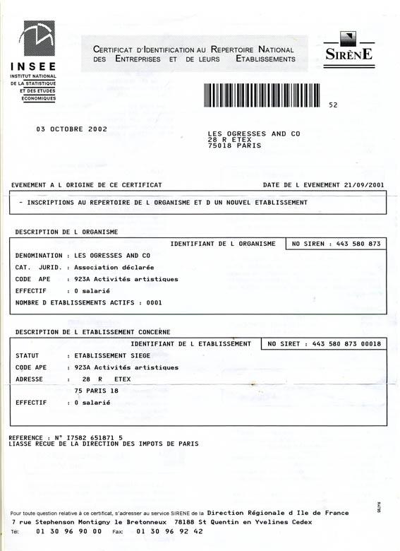 Spectacle vivant association ogresses and co culture paris 18 - Declaration bureau association prefecture ...